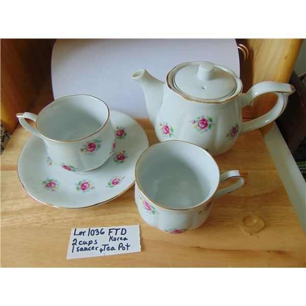 1036 FTD KOREA 2 CUPS ONE SAUCER & 1 PERSON TEAPOT