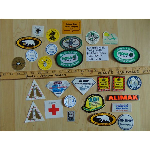 1040 MOSTLY MINING HARD HAT STICKERS & COVERALL PATCH