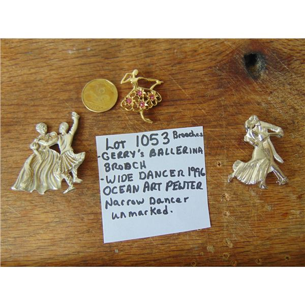 1053 THREE DANCER BROOCHES OCEAN ART PEWTER, GERRY'S & UNMARKED