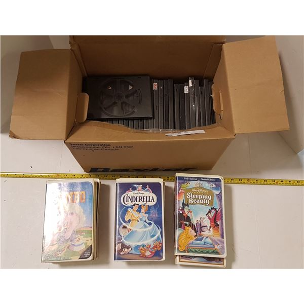 Lot of 9 Disney VHS Tapes & Lot DVD Cases