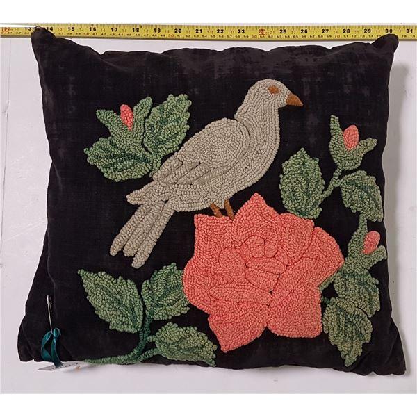 """Doukhobor Hand Worked Pillow, Bird & Flowers 14"""" x15"""""""