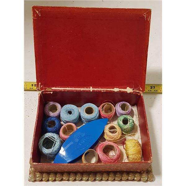 Vintage Seashell Sewing Box with Tatting Shuttle & Cottons