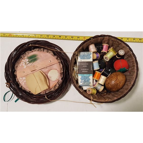 Vintage Silk-Lined Sewing Basket with Contents