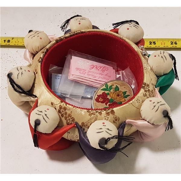 """Sewing Hold-All, Tag Reads """"Hong Kong Lutheran Self Help Project"""", Hong Kong"""