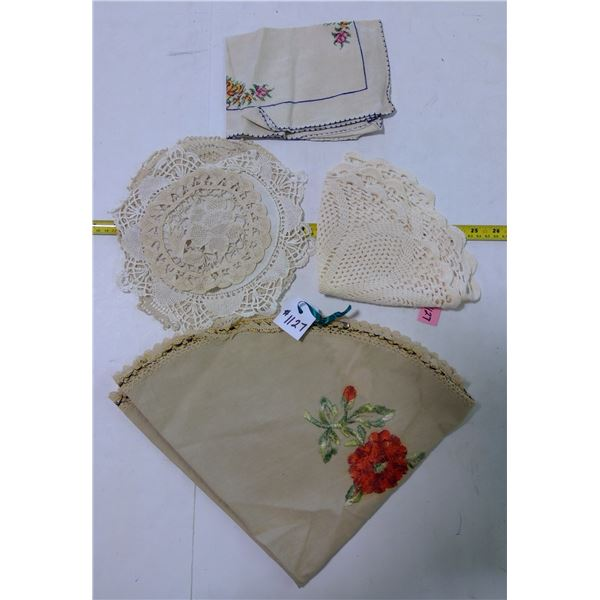 Lot of Hand-Worked Table Covers & Doilies