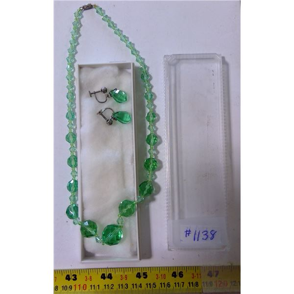 Vintage Green Crystal Necklace & Screw Back Crystal Drop Earrings