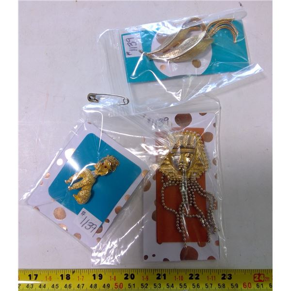 Gold Tone Articulated Broaches (3)