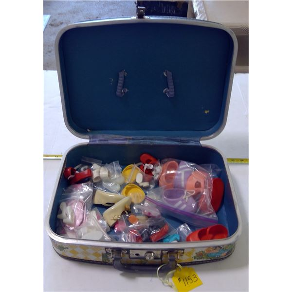 Lot of Doll Shoes, Various Sizes, in Suitcase