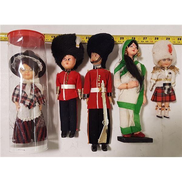 Lot of 1950's Dolls in Ethnic Dress (5)