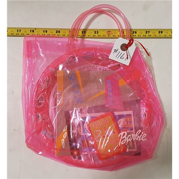 Pink Plastic Barbie Bag with Contents