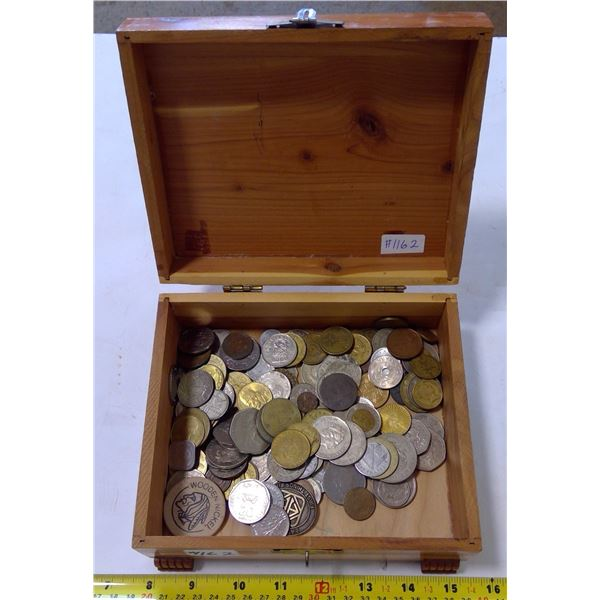 Cedar Box with Assorted Coin & Tokens