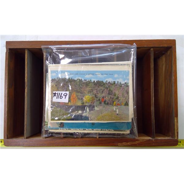 Wood Box for Postcards with Lot of Postcards