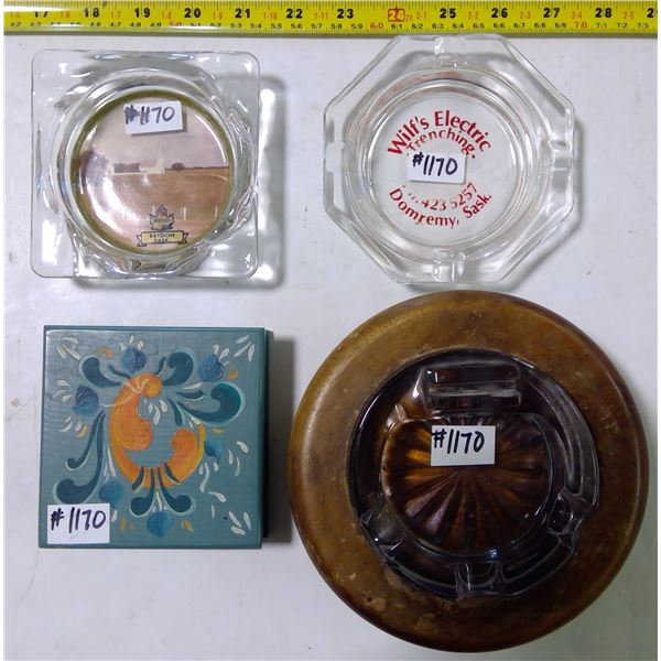 3 Ashtrays & 1 Decorative Match Safety with Matches