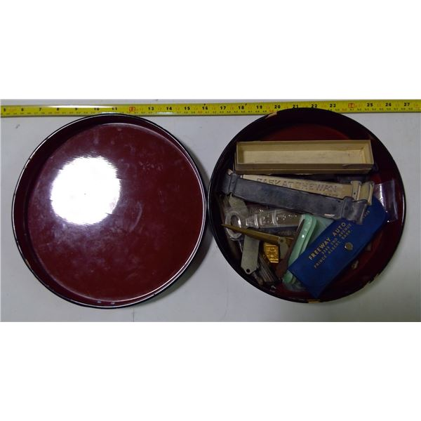 Lot of Misc. in Round Wooden Box