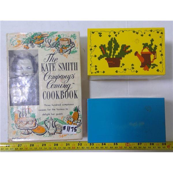 2 Metal Recipe Boxes Marked USA & 1 Katie Smith Cookbook (1958)