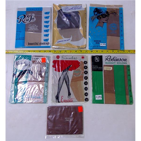 Lot of Vintage Nylon Stockings, 7 Pair, All Different Brands