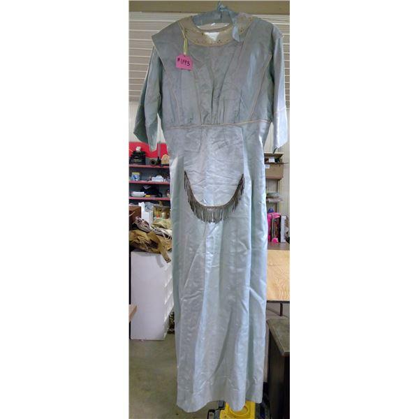 Light Blue Silk Dress, Circa 1910, Wear Marks & Some Damage