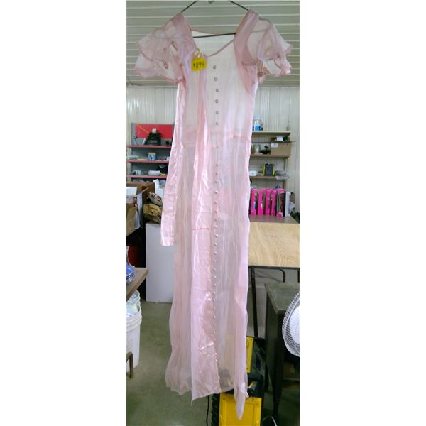 """Pink Voile Party Dress with Silk Sask, 1920's, 30"""" Waist"""