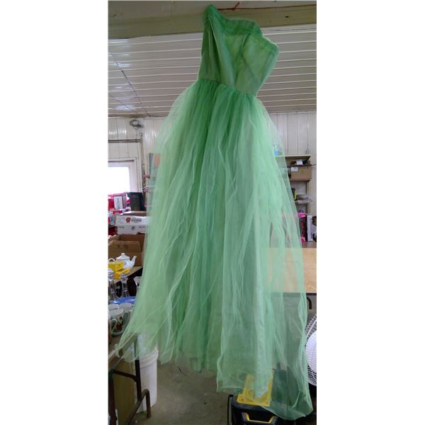 Green Tulle Evening Dress, 1950's with Green Opera Gloves, in Plastic Tub