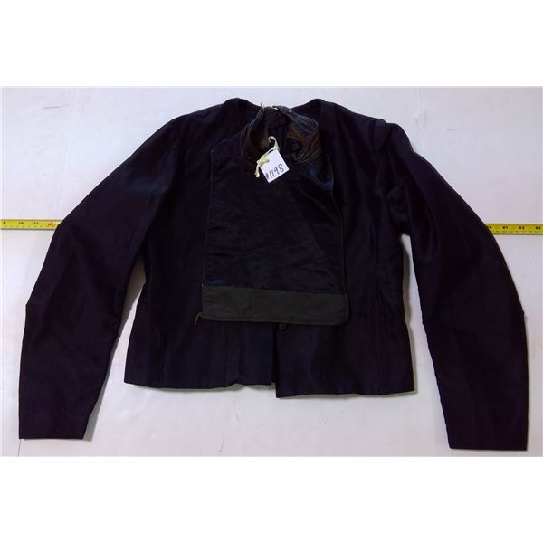 Black Jacket with Glass Buttons & Dickey, Cotton Blend, Circa 1910, Small