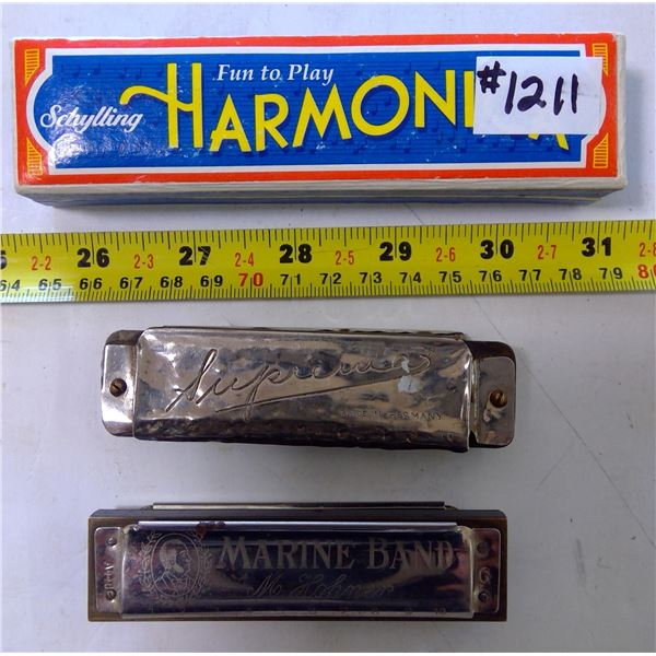 Lot of 3 Harmonicas
