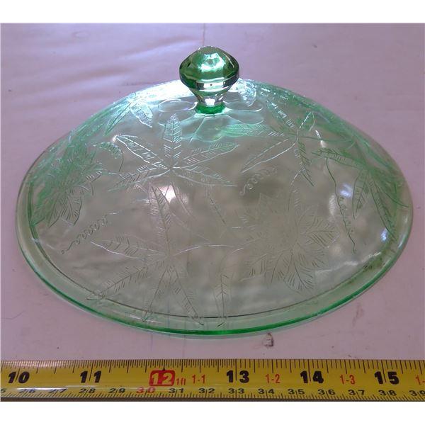 "Green Depression Glass Lid for 8"" Vegetable Bowl, Floral/Pointsetta Pattern"