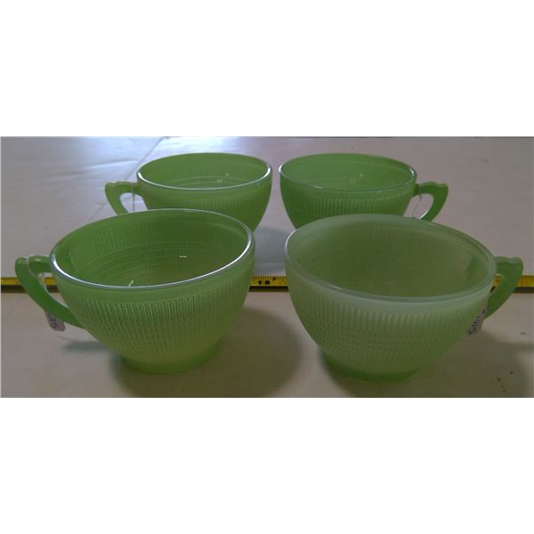 Green Saguenay Cups, Dominion Glass, 1940-45 (4 Cups)