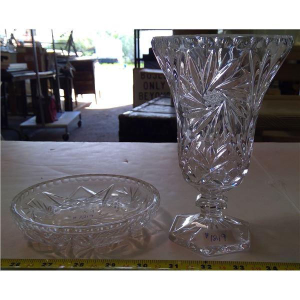 Pinwheel Crystal Vase with Pinwheel Saucer