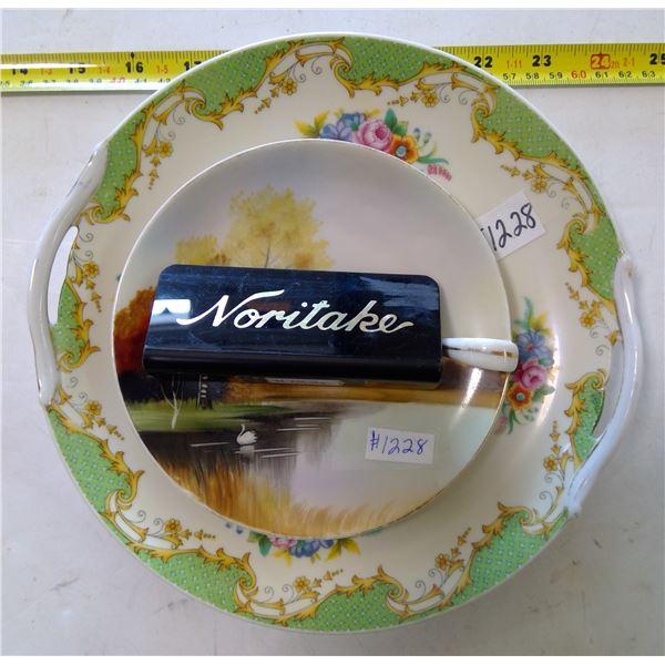 Noritake Cake Plate, Lemon Server & China Marker