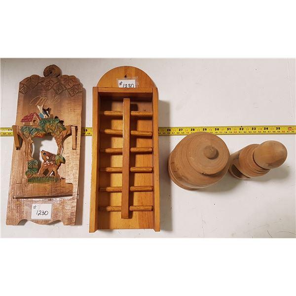 Lot of Treen, Tie Bar, Mail Holder, Nutcracker, Wooden Vase with Lid