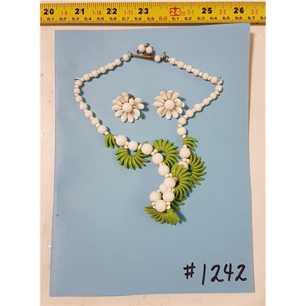 Vintage White and Green Glass Necklace & Clip Back Earrings