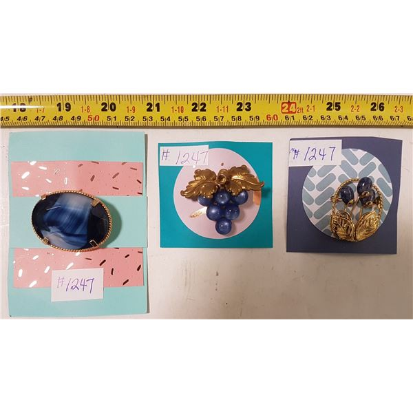 Lot of Gold Tone & Blue Broaches (3)