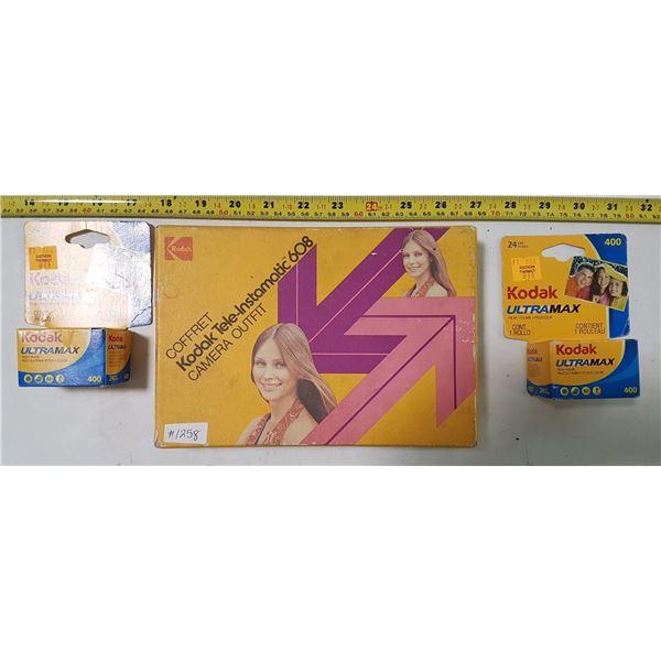 Kodal Ultramax Film (2) & Tele-Instamatic 608 Camera & Booklet