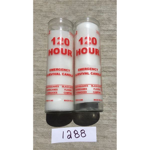 2 x 120 hour Glass emergency survival candles, Made In USA