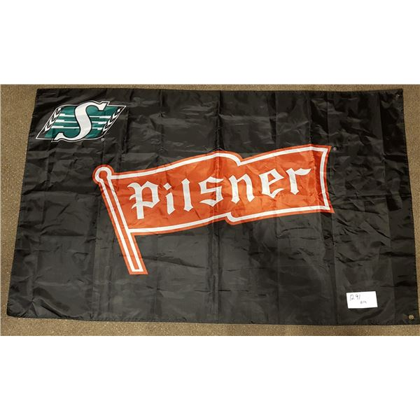 "Saskatchewan Roughriders/Pilsner FLAG – 59""X36"" – 2016 Farewell Season"