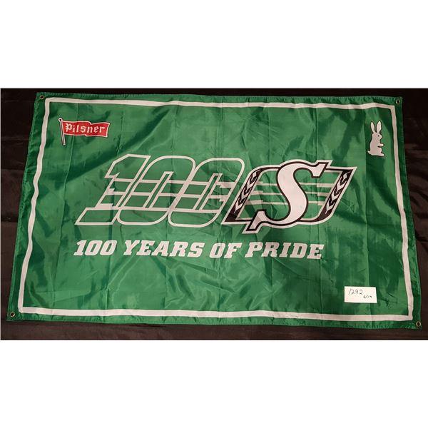 "Saskatchewan Roughriders/Pilser FLAG- 59""X36"" – 100 Years of Pride"