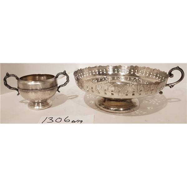 E.P Copper Tray (Missing Handle) and E.P. Copper Cup with Lead Mounts – 2 Piece Unknown Country
