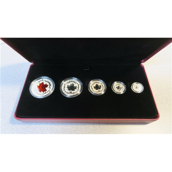 2015 Canadian Fine Silver Fractional Coin Set - 99.9% Pure Silver - Maple Leaf Tribute - 5 Piece