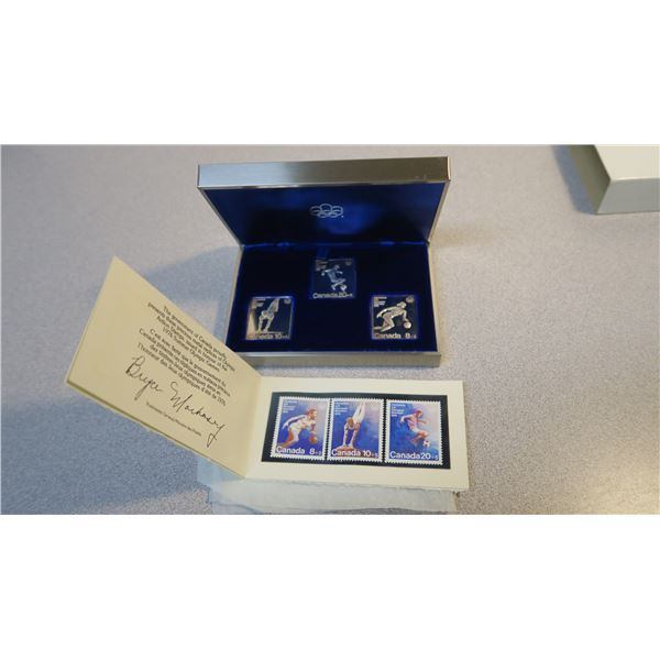 1976 Summer Olympics Canadian Stamp Collection - 3 Foil Stamps and 3 Regular Stamps - Silver
