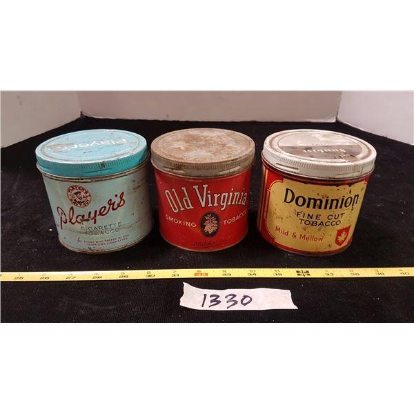 3 Various Tabacco Tins