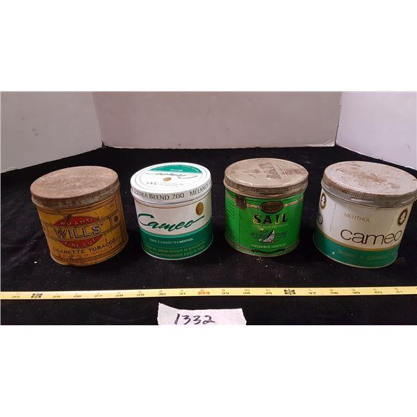 4 Various Tobacco Tins