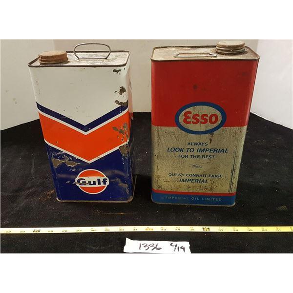 Gulf & Esso Tins