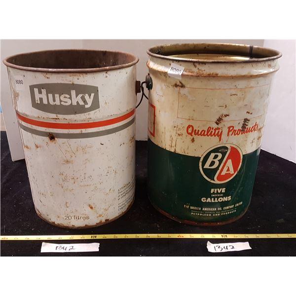 B/A & Husky 5 Gal Tin Pails