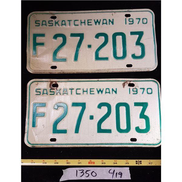 1970 Matching Sk. Farm Plates