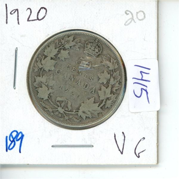 1920 Canadian 50 Cent Coin