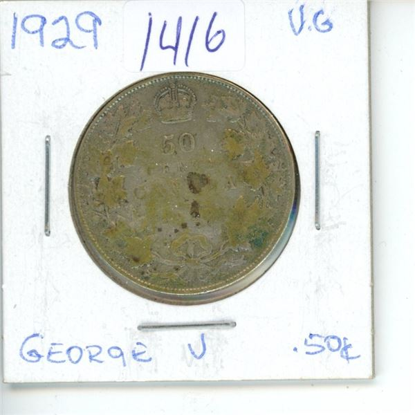 1929 Canadian 50 Cent Coin