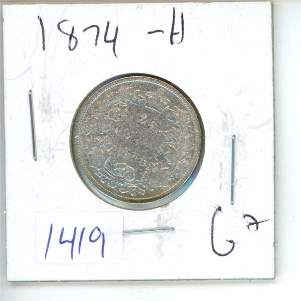 1874H Canadian 25 Cent Coin