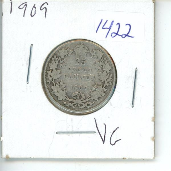 1909 Canadian 25 Cent Coin