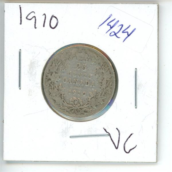 1910 Canadian 25 Cent Coin