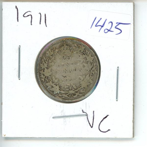 1911 Canadian 25 Cent Coin